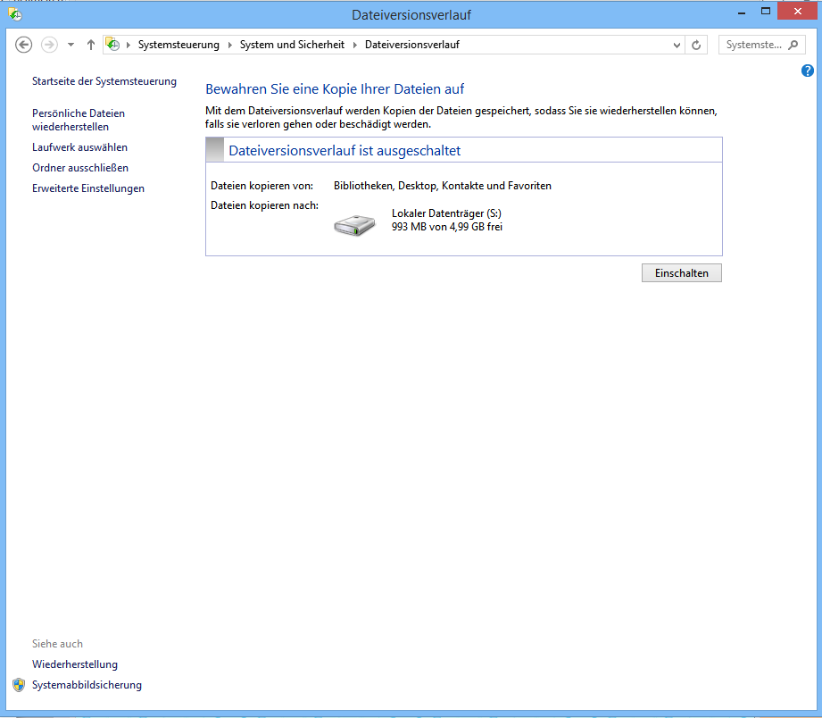 Systemsicherung in Windows 8.1