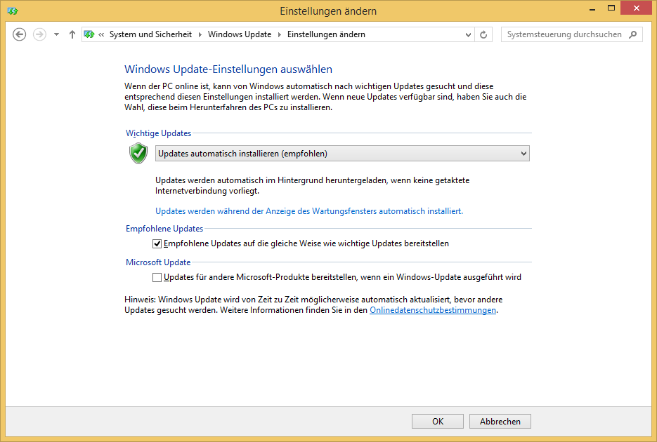 Automatische Updates in Windows 8.1